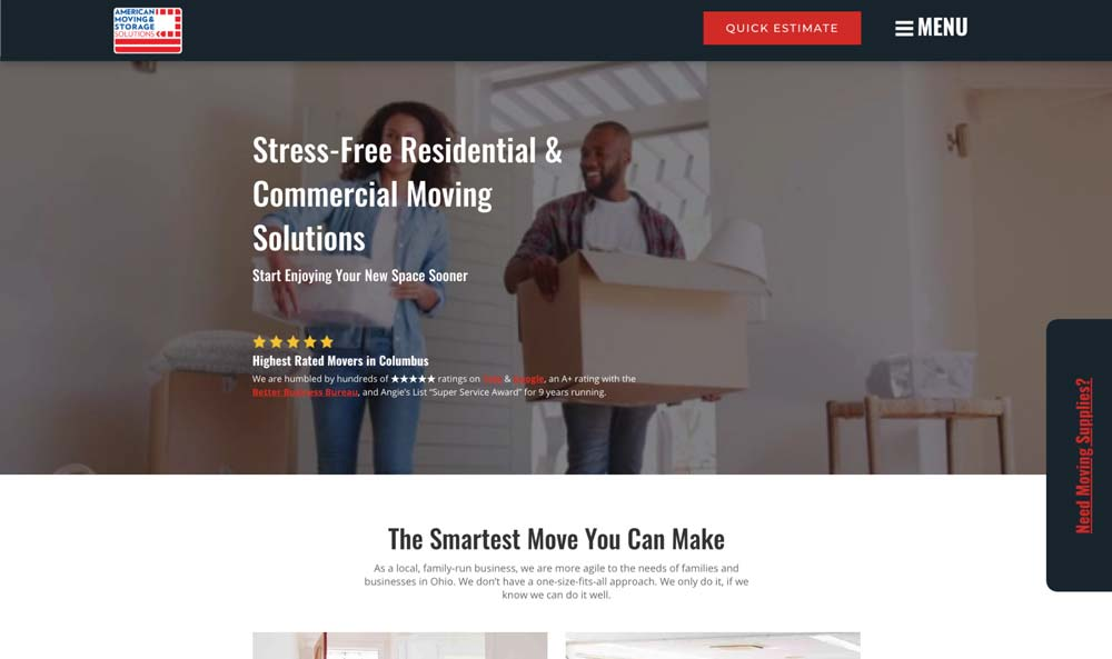 screenshot of american moving and storage solutions home page above the fold