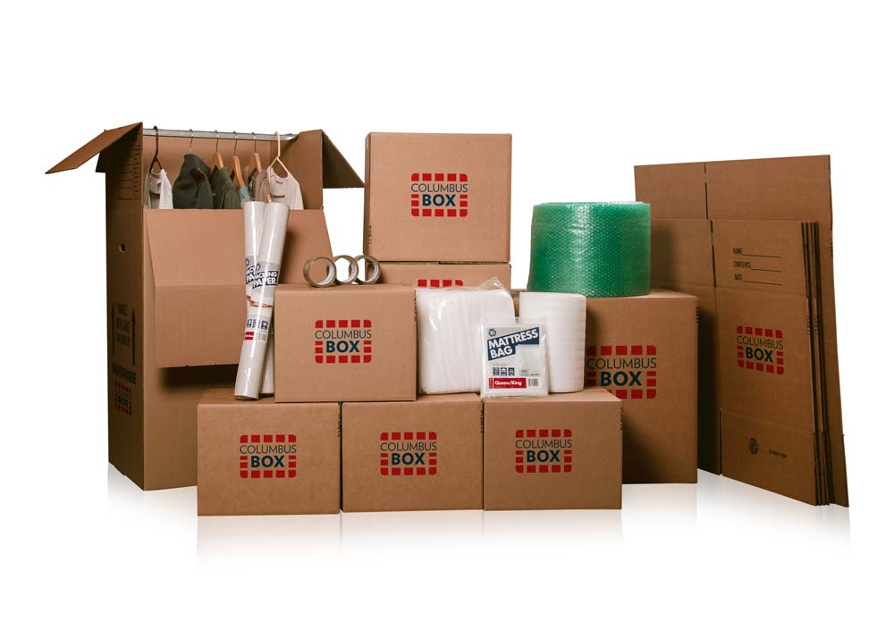 assembled cardboard boxes and packing supplies against plain white background