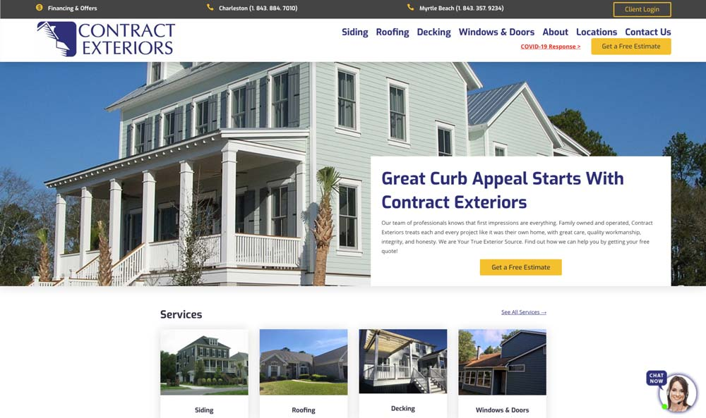 screenshot of contract exteriors home page above the fold