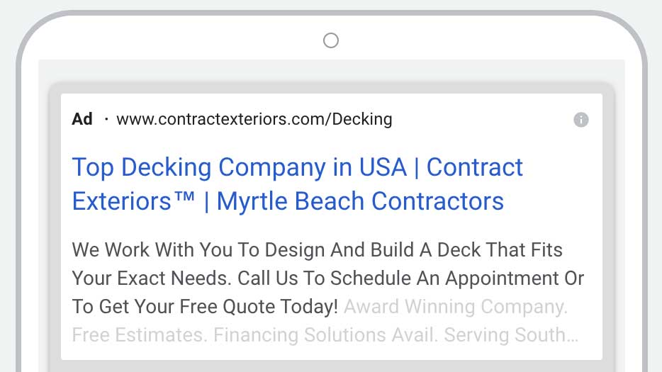 example of a contract exteriors paid search ad