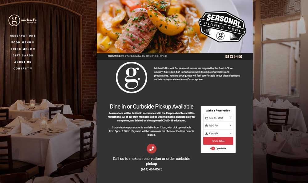 screenshot of gmichaels restaurant home page above the fold