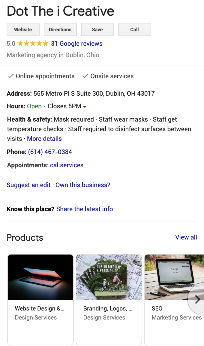 dot the i creative google my business listing within a google search