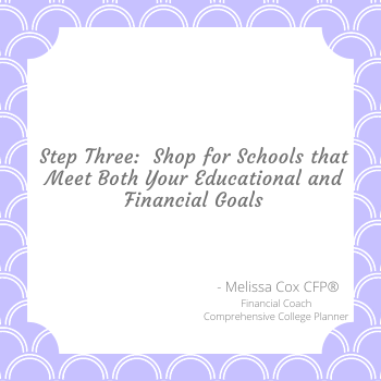Step three in comprehensive college planning is to shop for schools that fit your needs.