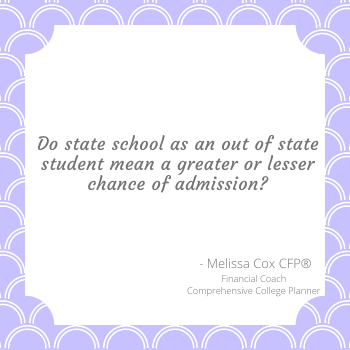Melissa Cox CFP compares in state vs out of state schools and acceptance rates.