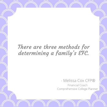 Melissa Cox FP explains the three methods of calculating the Expected Family Contribution