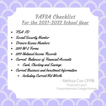 Melissa Cox CFP give a FAFSA Checklist