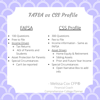 Melissa Cox CFP describes the FAFSA and CSS Profile