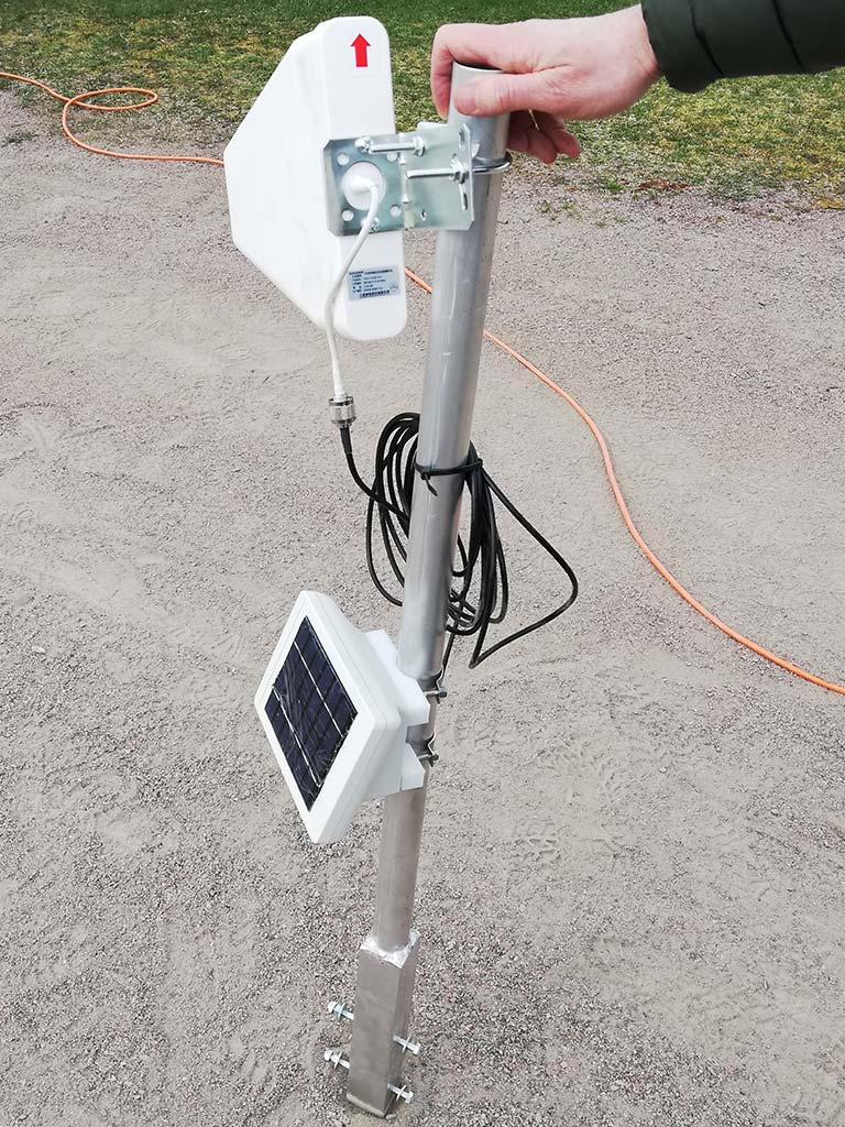 The wireless, solar-powered radio repeater, Soil Scout Echo.