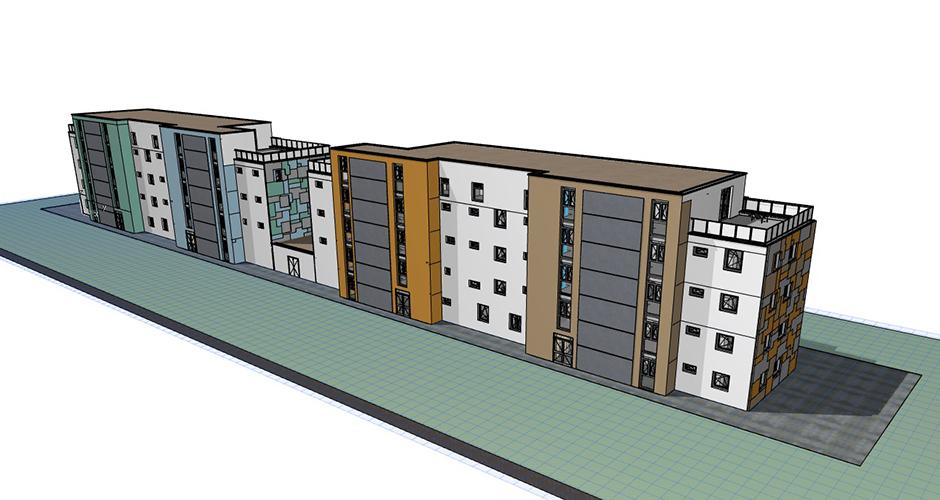 Wohnbau mit Farbe