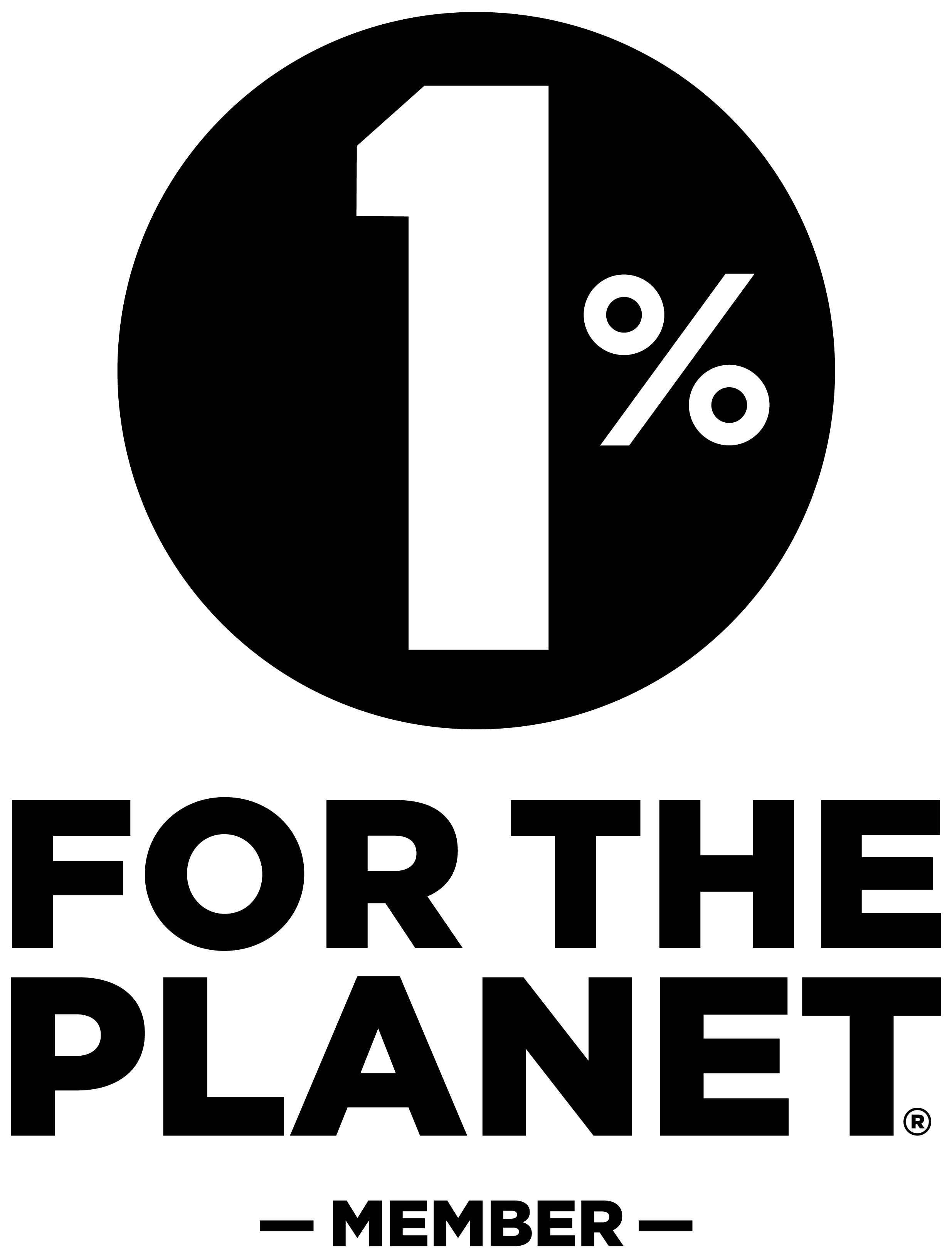 Logo 1% for the planet negro.