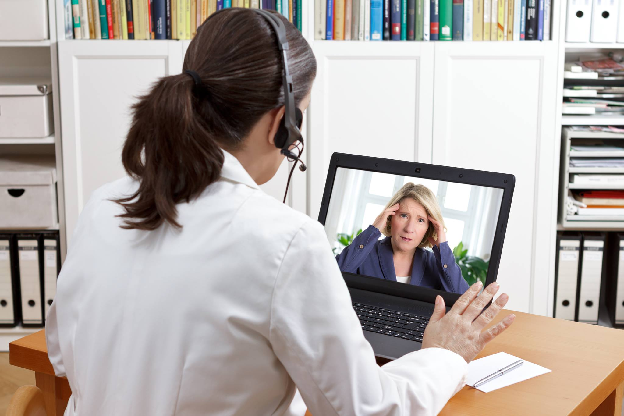 A Baptist Health employee on a video call or interview for a careers in nursing in Arkansas