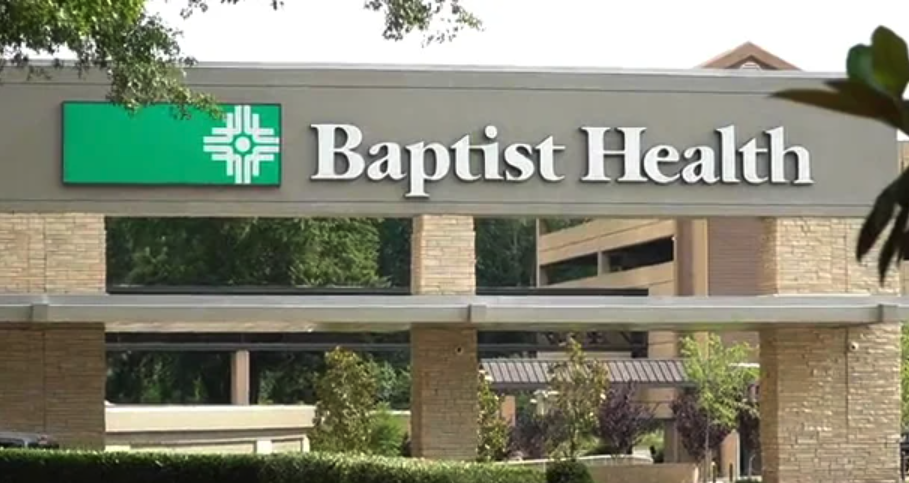 The front entrance to a Baptist Health hospital in Arkansas