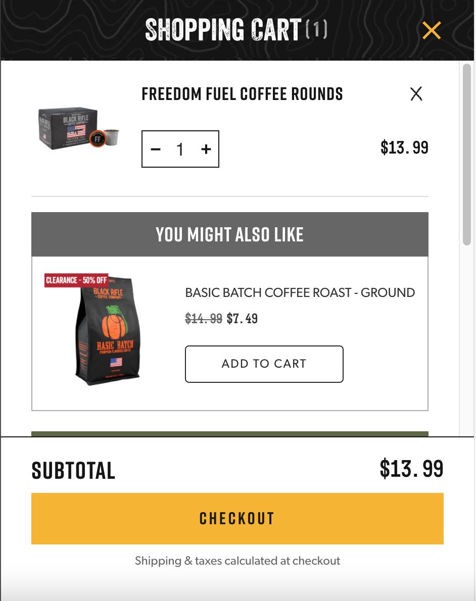 Black Rifle Coffee cross-sell