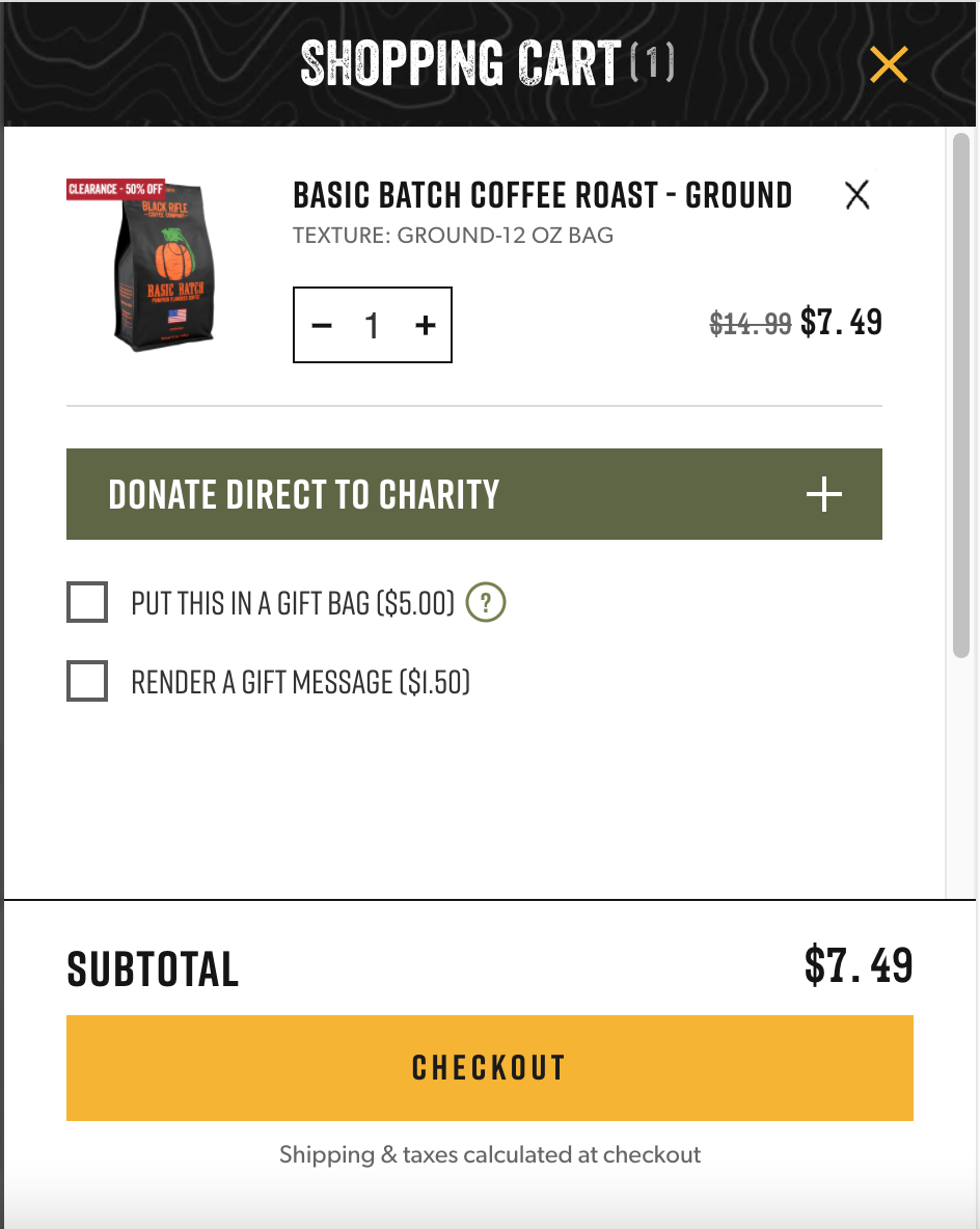 Black Rifle Coffee cross-sell and upsell