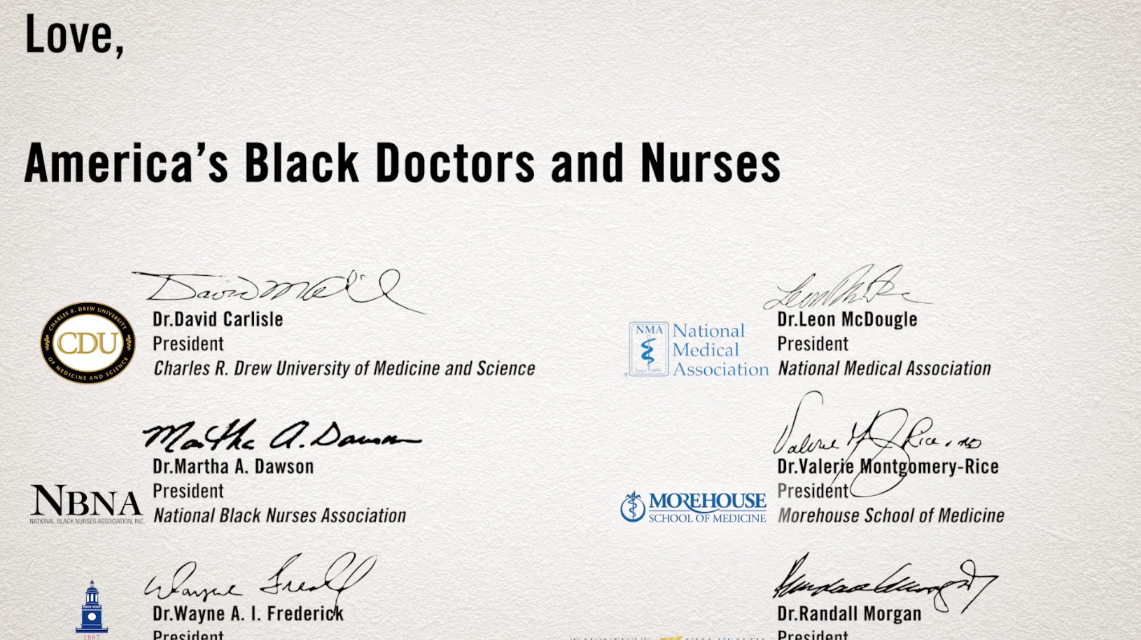 A Love Letter to Black America, from America's Black Doctors and Nurses