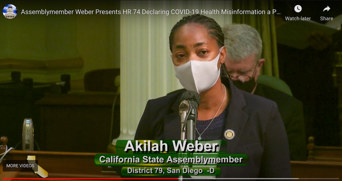 Assemblymember Akilah Weber Introduces HR 74, Declaring COVID-19 Health Misinformation a Public Health Crisis