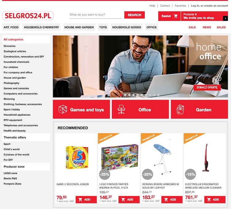 screen from selgros24 web page