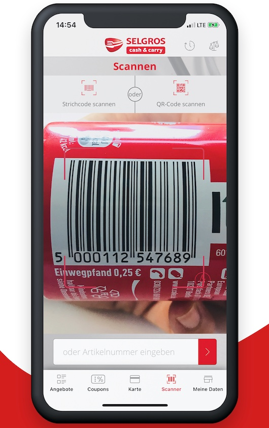 a phone with screen of selgros app scanning bar code