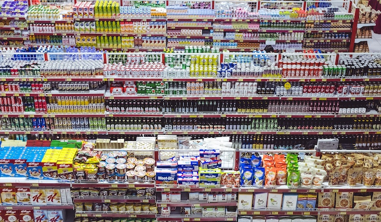 shelf with products in the supermarket