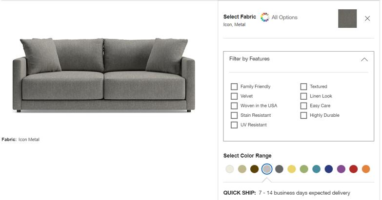 Crate&Barrel – customisable sofas