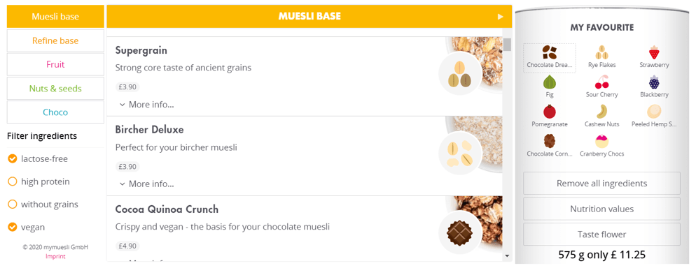 My Muesli – self-creation of muesli mix