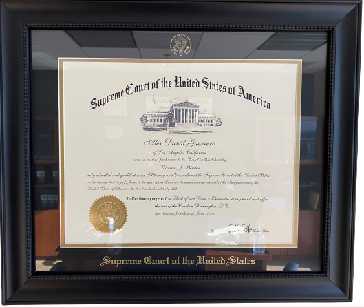 Alex D. Guerrero Supreme Court Certificate