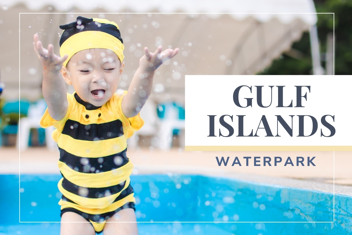 Girl in a bumblebee swimsuit jumping to the pool - Gulf Islands Waterpark