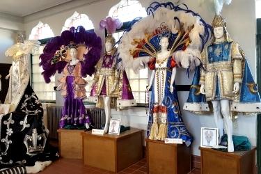 Costume exhibition inside Alice Moseley Folk Art & Antique Museum