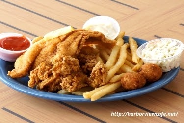 Fried catfish with fries from Harbor View Cafe