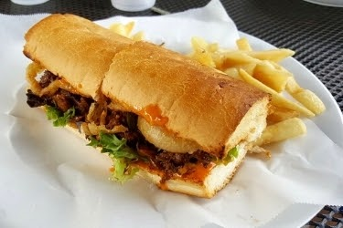 Kogi Poboy with French Fries from Long Beach Market & Deli