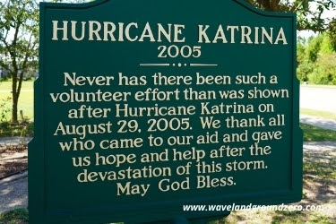 Sign with information about Hurricane Katrina