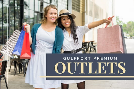 Women shopping in an outlet - Gulfport Premium Outlets Shopping