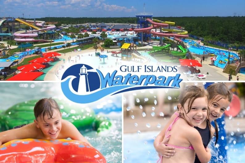 Beach hotels near gulf islands waterpark | Photo of waterpark with kids having fun