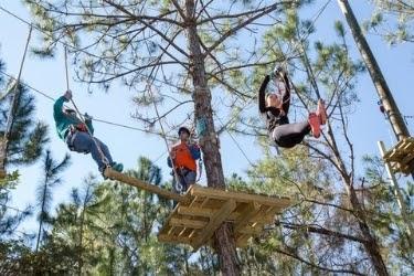 Teens having fun doing zip line