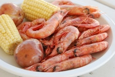 Royal Red Shrimps with corn and potatoes.