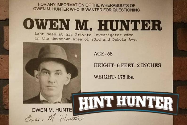 Hint Hunter Puzzle Rooms - Owen Hunter Room prop