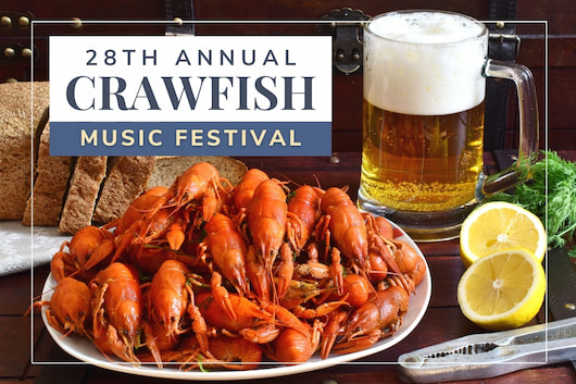Plate full of crawfishes, some lemon and a beer - 28th annual Crawfish Music Festival