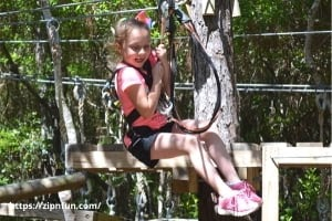 Little girl doing Zipline