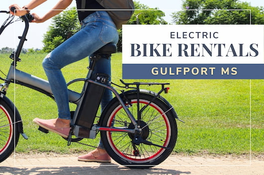 Woman riding an electric bike - Electric Bike Rentals Gulfport MS