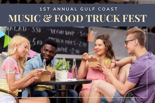 1st Annual Gulf Coast Music & Food Truck Fest - People eating outside a food truck