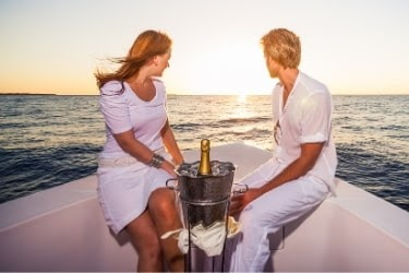 Couple on a romantic date in a cruise