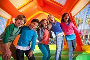 Kids inside a bouncy house