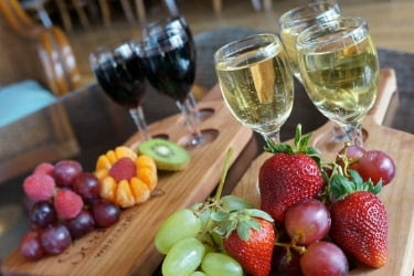 Wine tasting with fruits