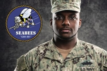 Seabees logo with a soldier
