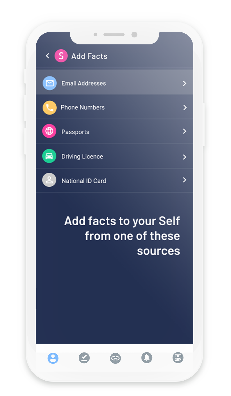 Self screenshot: Add facts to your Self from one of these sources