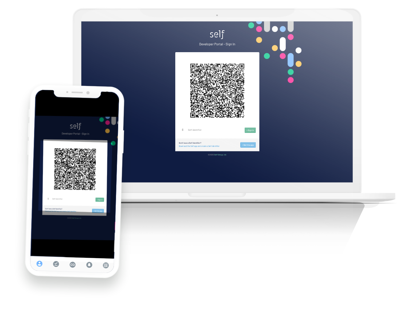 Self scanning a QR code to create a connection