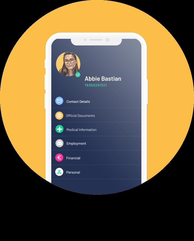 Self app profile screen on yellow circle background