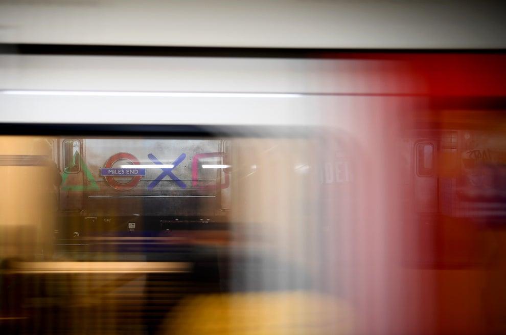 Sony Playstation logo seen from a London underground train window