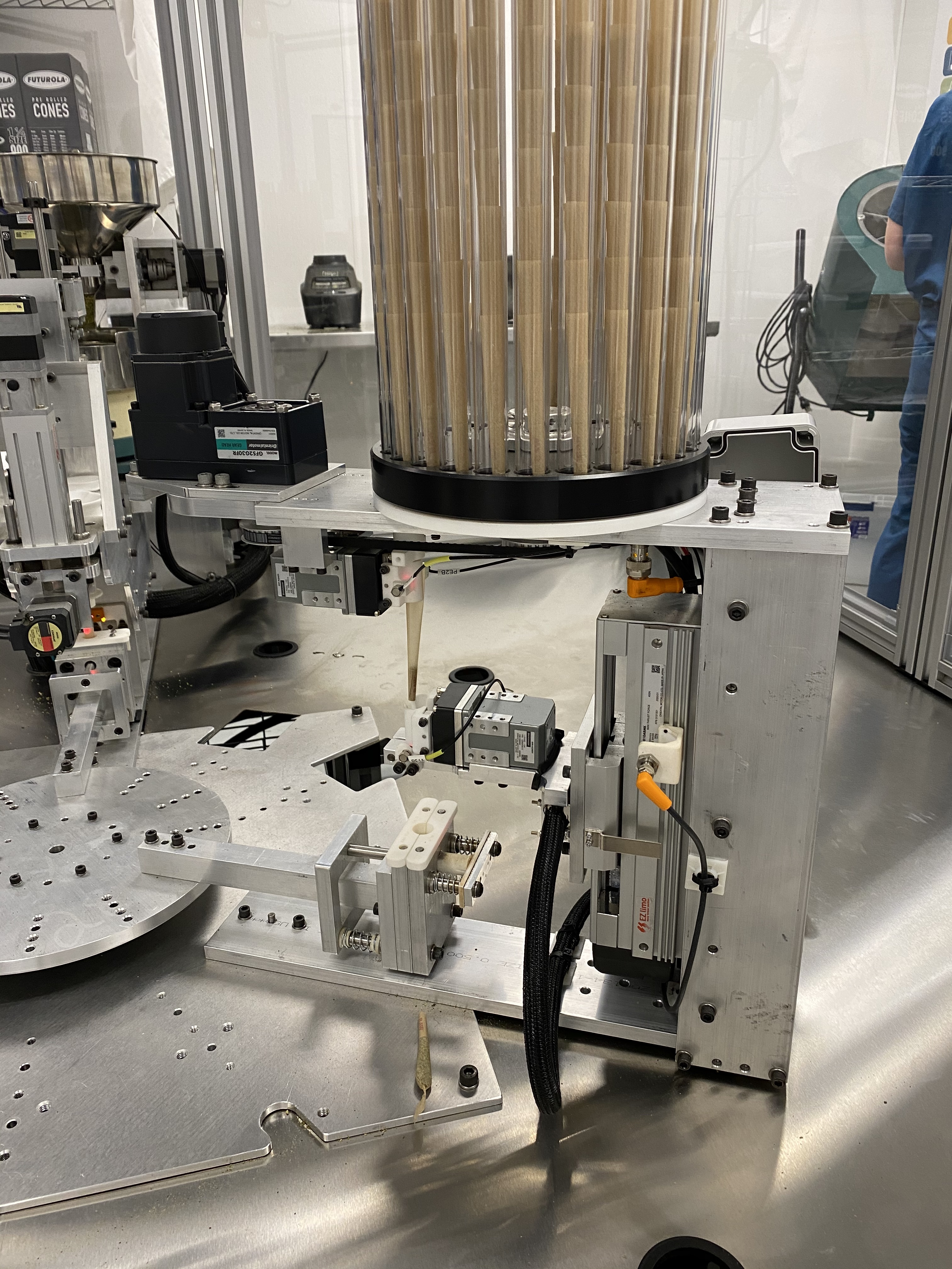 The pre-roll machine's cone magazine for loading cones of all sizes and brands.