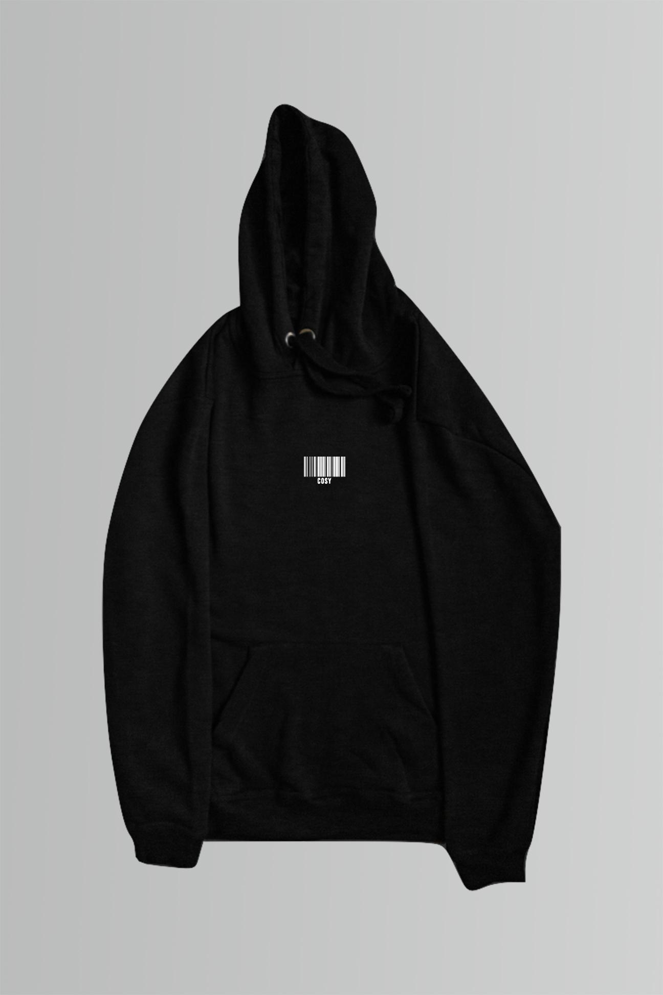 Barcode Oversized Hoodie in Black